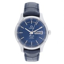 Omega De Ville Hour Vision 41 blue dial leather annual calendar