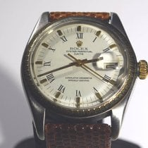 Rolex Vintage Stainless and 14kt Gold Date Roman Dial