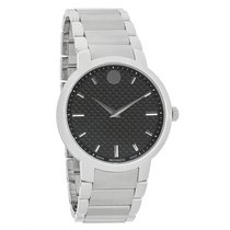 Movado Mens Gravity Black Carbon Dial Swiss Quartz Watch 0606838