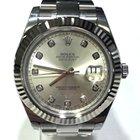 Rolex Datejust II Grey Diamond Dial White Gold Bezel 41mm