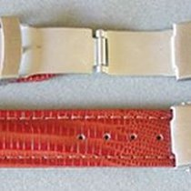 Leder-Armband 18mm rot/braun, Edelstahl Sicherheitsfaltschließe