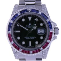 Rolex GMT-Master II Steel Pepsi Diamonds and Sapphiires...
