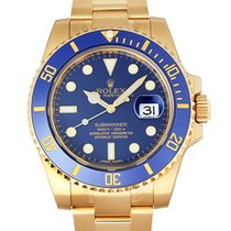 Rolex Submariner 18K Gold Ceramic Blue Dial Mens Watch 40mm...
