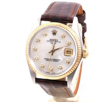 Rolex 34mm 18K/SS Date - Mother Of Pearl Diamond Dial -...