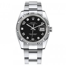 Rolex Date 34mm White Gold Bezel Black Diamond Dial - 115234