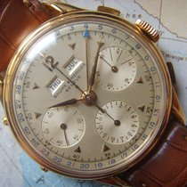 Baume & Mercier 1950s Very Rare LARGE ROSE GOLD 18K Triple...
