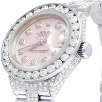 Rolex Ladies Rolex Datejust Oyster 26MM Pink MOP Dial Iced Out...