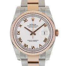 Rolex DATEJUST 36mm Steel & 18K Rose Gold White Roman Dial