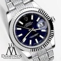 Rolex Large 41mm Rolex Datejust Blue Face Flutted 18kt Gold...