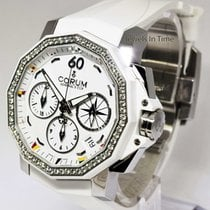 Corum 40mm Admirals Cup White Chronograph Steel/Diamonds/Ceram...