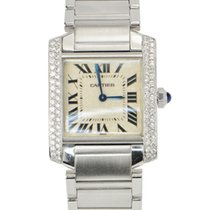 Cartier Tank Francaise Stainless Steel Diamond Quartz Ladies...
