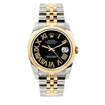 Rolex Datejust Men's 36mm Black Dial Yellow Gold And...