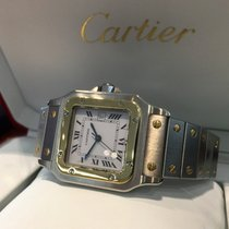 Cartier Santos Gold Steel White Roman Dial 40 x 30 mm (Full Set)