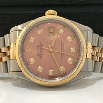 Rolex Datejust Ouro & Aço 36mm Salmon/rosa Com Diamantes