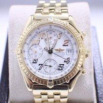 Breitling Windrider Chronomat K13050 18K Yellow Gold White Dial