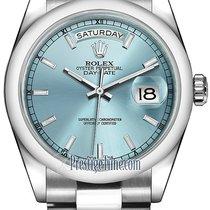 Rolex Day-Date 36mm Platinum Domed Bezel 118206 Ice Blue Index...