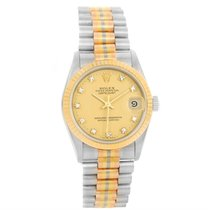 Rolex Datejust President Tridor 18k Gold Diamond Midsize Watch...