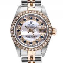 Rolex Datejust Lady Custom Diamond Saphir Stahl Gelbgold...