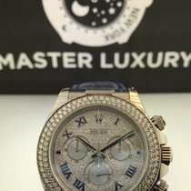 Rolex 116589RBR Daytona White Gold Pave Roman Dial Diamond Bezel
