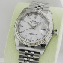 Rolex Datejust 36mm White Index Stick Jubilee 116234 Box and...