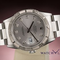 Rolex DATEJUST TURN-O-GRAPH WHITE GOLD BEZEL FACTORY DIAMOND DIAL