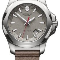 Victorinox Swiss Army I.N.O.X. Dial Grey Leather Brown Strap...