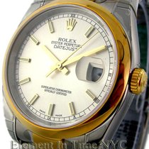 Rolex Datejust Steel / 18k Yellow Gold White Dial 36mm