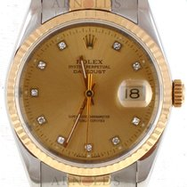 Rolex 1991 Two Tone Gents Datejust Factory Diamond Dial Fluted...