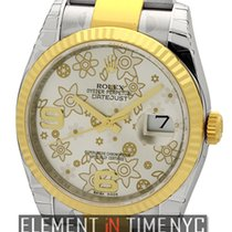 Rolex Datejust Steel & Gold 36mm Silver Floral Dial