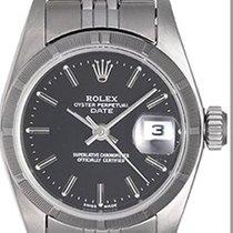 Rolex Ladies Rolex Date Stainless Steel Watch 69190 Black Dial