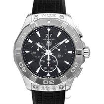 TAG Heuer Aquaracer Chronograph 300M Black Steel/Rubber 43mm -...