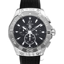 TAG Heuer Aquaracer Chronograph 300M Black Steel/Rubber 43mm -...