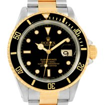 Rolex Submariner Steel Yellow Gold Back Dial 40mm Mens Watch...