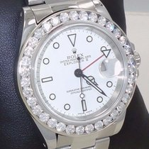 Rolex Explorer II 16570 40mm 3.25ct Diamond Bezel Steel White...