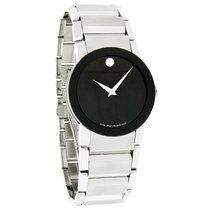 Movado Sapphire Mens Blk Museum Stl Steel Swiss Quartz Watch...