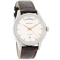 Hamilton Jazzmaster Mens Brown Leather Swiss Automatic Watch...