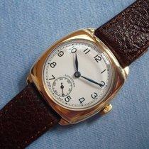Longines 9K gold cushion case enamel dial watch - cal. 12.68Z