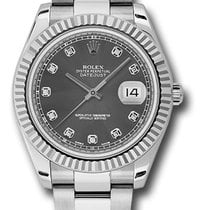 Rolex Datejust II Rhodium Diamond Dial Fluted Bezel