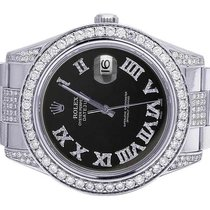 Rolex Mens Rolex Datejust II 116300 Roman Dial Iced Out 41MM...