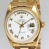 Rolex Day-Date President 18k Yellow Gold White Roman Dial Mens...
