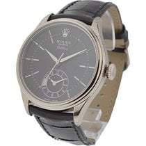 Rolex Unworn 50529 Cellini Dual Time in White Gold - on Black...