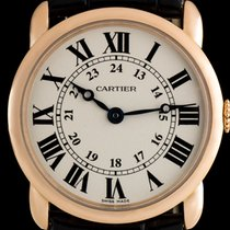 Cartier 18k Rose Gold Silver Roman Dial Ronde Louis Ladies...