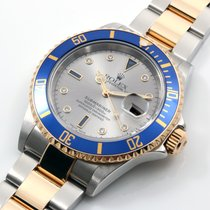 Rolex 18K/SS Submariner Factory Slate Serti Diamonds - 16613