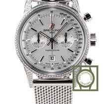 Breitling Transocean Chronograph 38mm Silver Dial  NEW
