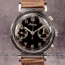 Minerva Vintage 1930`s Flexible Lugs Steel Chronograph Cal....