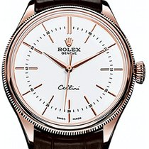 Rolex Cellini Time 50505-0020 White Index Rose Gold &...