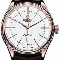 Rolex Cellini Time 50505-0020 White Index Rose Gold &...
