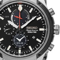Seiko SSC479P1 Sportura Solar World-Time Chronograph 44mm 10ATM