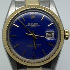 Rolex DATE 34MM AUTOMATIC STEEL GOLD RARE BLUE DIAL