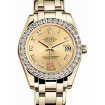 Rolex Pearlmaster 34 81298 Champagne Roman Diamond Bezel VI...